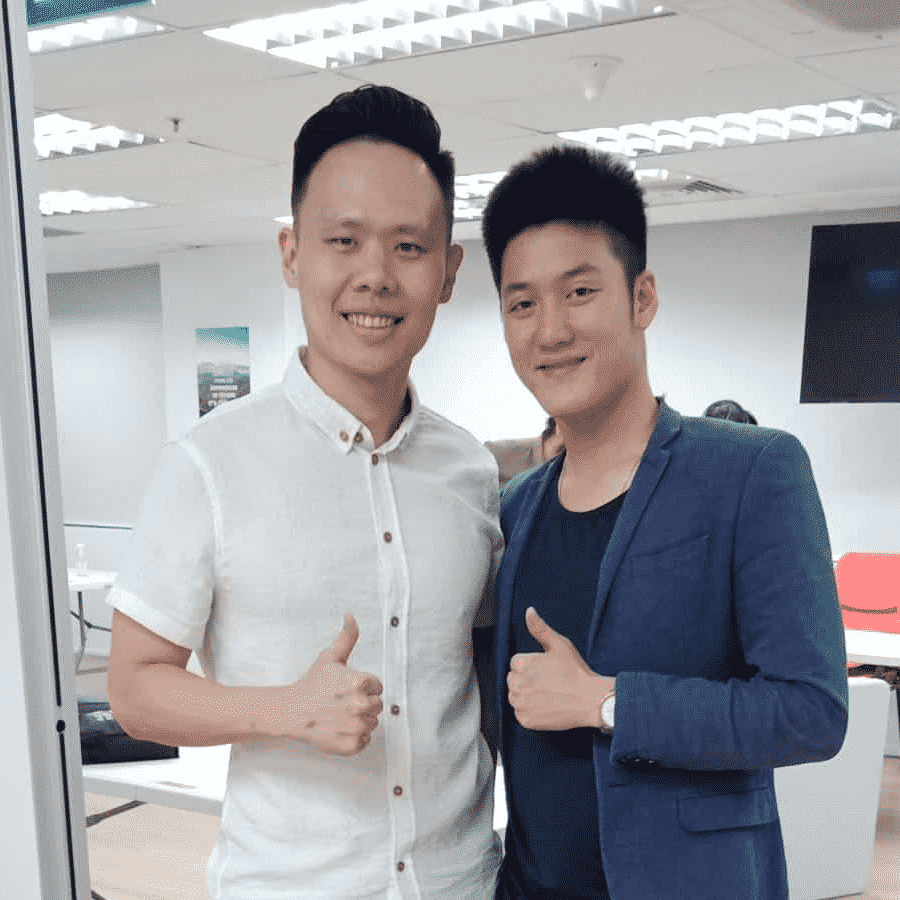 Jax Ng with Alaric Ong, a marketing, branding, and sales speaker who built the largest Facebook marketing community in Singapore.