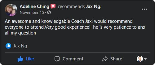 Jax Ng - Facebook Testimonial From Adeline Ching