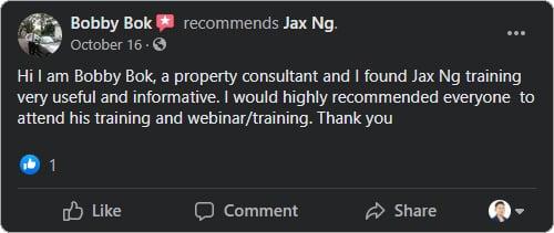 Jax Ng - Facebook Testimonial From Bobby Bok