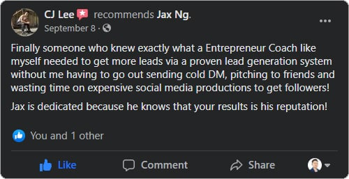 Jax Ng - Facebook Testimonial From CJ