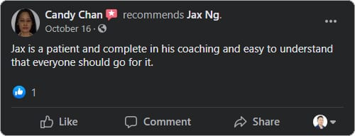 Jax Ng - Facebook Testimonial From Candy Chan