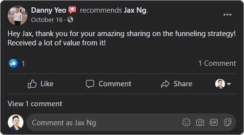 Jax Ng - Facebook Testimonial From Danny Yeo
