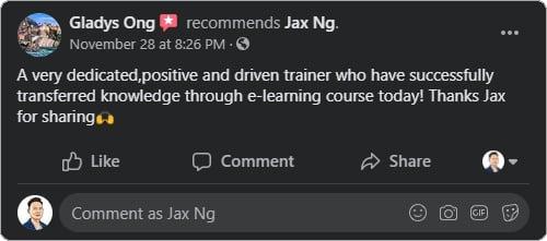Jax Ng - Facebook Testimonial From Gladys Ong