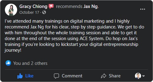 Jax Ng - Facebook Testimonial From Gracy Chiong